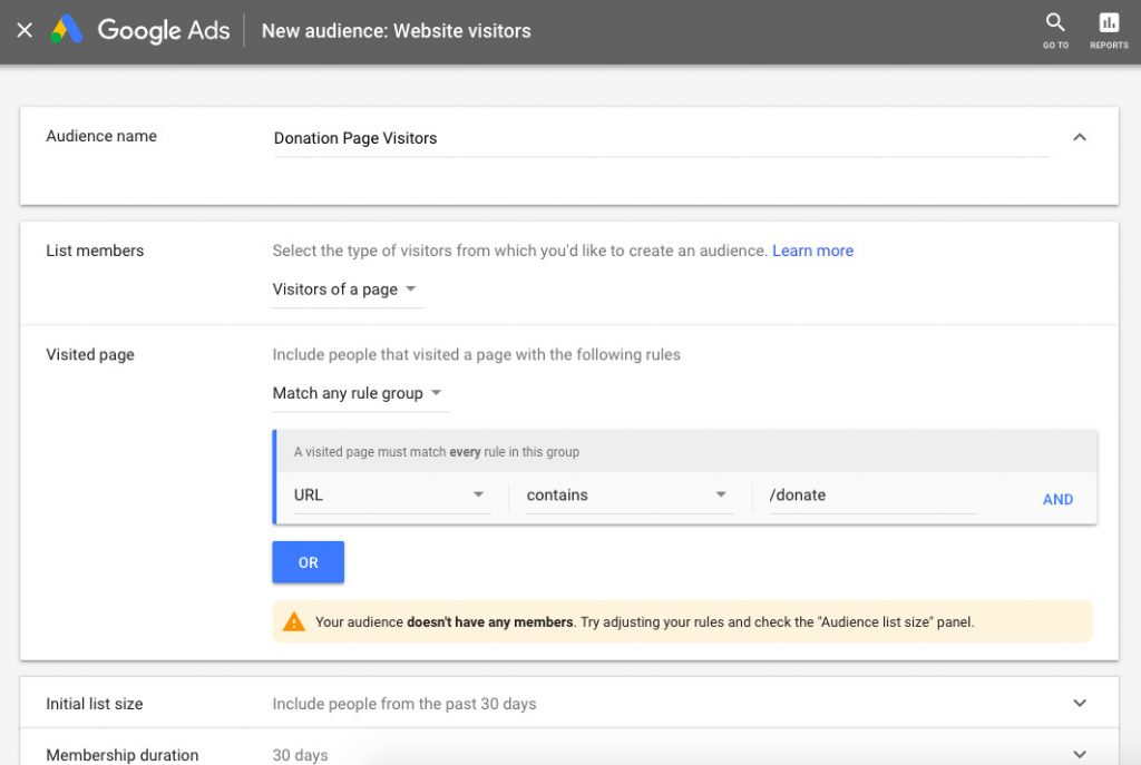 audience list google remarketing ad