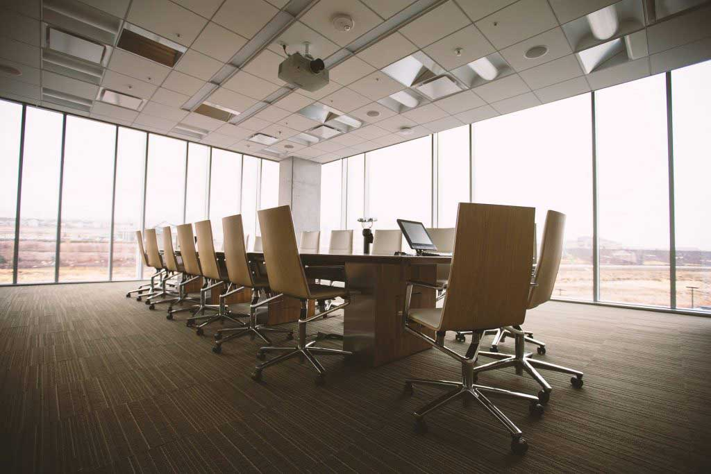 Nonprofit board room set for a members meeting